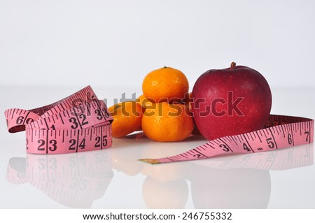 Reflection of Orange, Apple with Measure Tape, Selective Focus