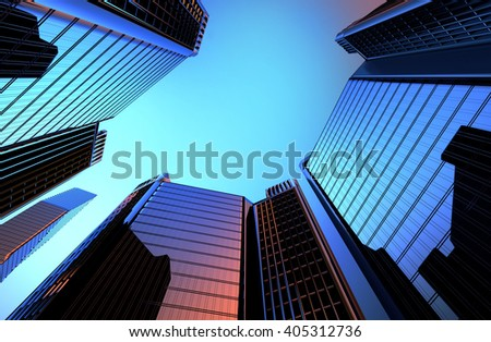 reflection of skyscrapers in the Windows of houses the background is a 3D render illustration - stock photo