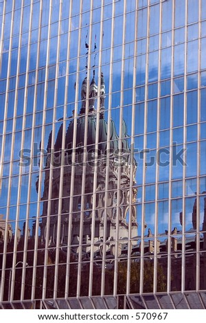 Reflection of State Capitol Building in Indianapolis, Indiana. - stock photo