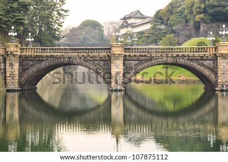 Reflection of the bridge on the water looking like the eye glasses - stock photo