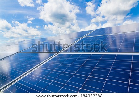 Reflection of the cloudy sky on the Polycrystalline photovoltaic modules