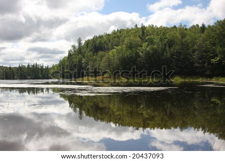 Reflection of trees and clouds in a lake - stock photo