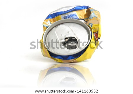 Reflection  of Used aluminum can on white background.