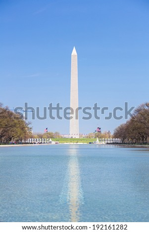 Reflection of Washington Monument in new reflecting pool from Lincoln Memorial - stock photo