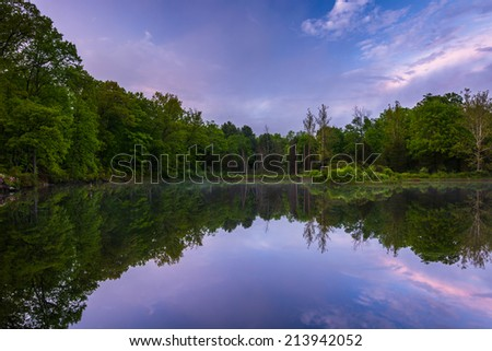 Reflections at a pond in Delaware Water Gap National Recreational Area, New Jersey. - stock photo