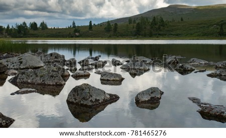 Reflections in mountain lake, Altay, Siberia, Russia, Autumn