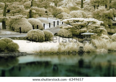 Reflections of a Japanese Garden in Infrared. - stock photo