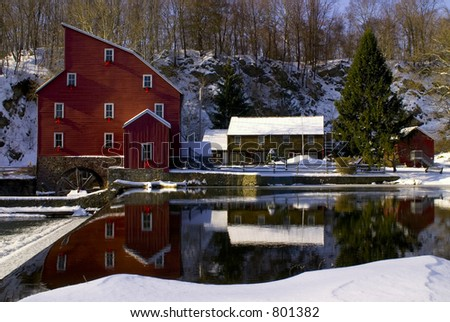 Reflections of a Mill - stock photo