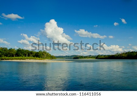 Reflections of Amazon river, Ecuador - stock photo