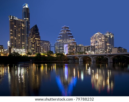 Reflections of twinkling lights of downtown Austin. - stock photo