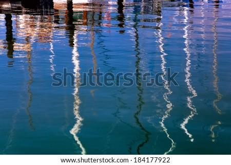 Reflections Sausalito marina - stock photo