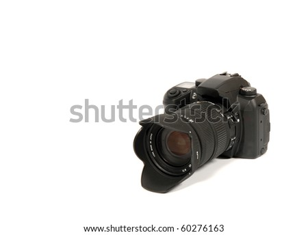 Reflex camera over 100% white background - stock photo