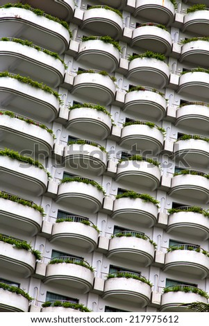 reflex of some gray palace in a window terrace of the centre  bangkok thailand - stock photo