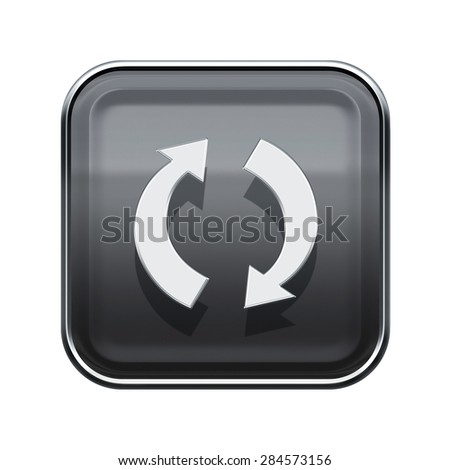 refresh icon glossy grey, isolated on white background - stock photo