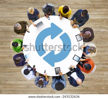 Refresh Repeat Symbol Round Rotation Undo Circular Concept - stock photo