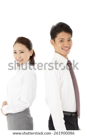Refreshing businessman and businesswoman - stock photo