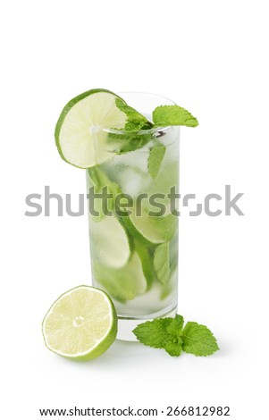 refreshing cocktail mojito with cane sugar, lime and mint isolated