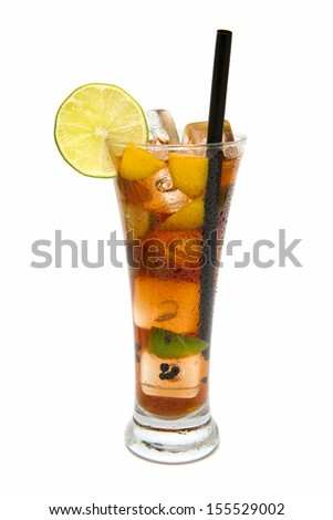 refreshing cocktail on white background