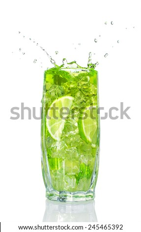 refreshing cocktail with mint and lime isolated on white - stock photo