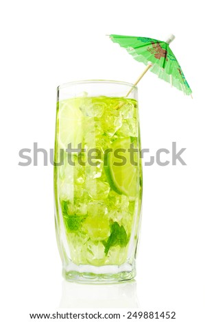 refreshing cocktail with mint and lime over white - stock photo