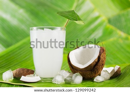 Refreshing coconut milk drink or cocktail with ice and coconuts on banana leaves - stock photo