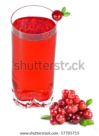 refreshing cranberries drink  isolated on white background isolated - stock photo