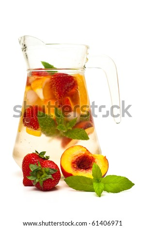 refreshing fruit cocktail isolated on white