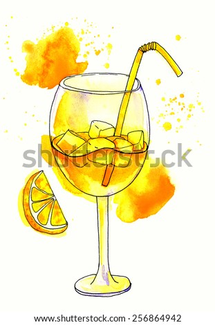 Refreshing glass of pink juice with ice cubes and drinking straw. Hand drawn colourful watercolor illustration. - stock photo