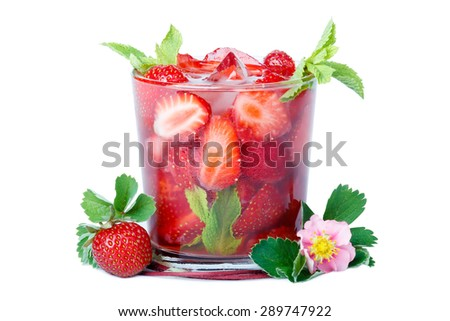 Refreshing glass of strawberry with mint and ice isolated on white background. - stock photo