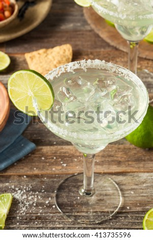 Refreshing Homemade Classic Margarita with Lime and Salt - stock photo