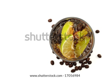 Refreshment Highball Drink made of Rum, Vodka, Gin, Tequila, Cola, Lemon and Coffee Crop. Isolated on White Background. - stock photo