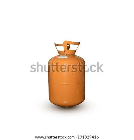 refrigerant old gas tank orange r404 on white background. - stock photo