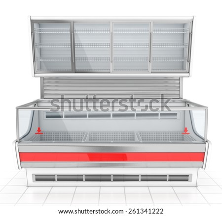 Refrigerated display in the store - stock photo