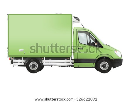 Refrigerated truck on the white background. Raster illustration.