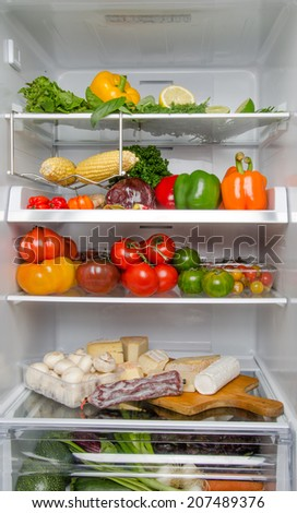 Refrigerator full of different food products - stock photo