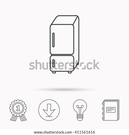 Refrigerator icon. Fridge sign. Download arrow, lamp, learn book and award medal icons. - stock photo