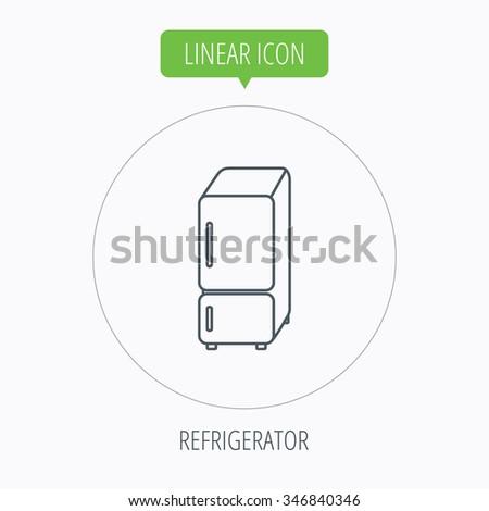 Refrigerator icon. Fridge sign. Linear outline circle button.  - stock photo