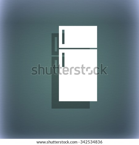 Refrigerator icon sign. On the blue-green abstract background with shadow and space for your text. illustration - stock photo
