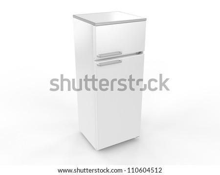 Refrigerator isolated on white background, 3D image - stock photo