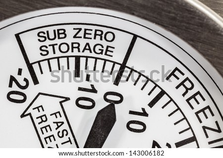 Refrigerator thermometer sub zero area macro detail. - stock photo
