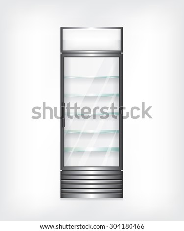 Refrigerator with glass shelves - stock photo