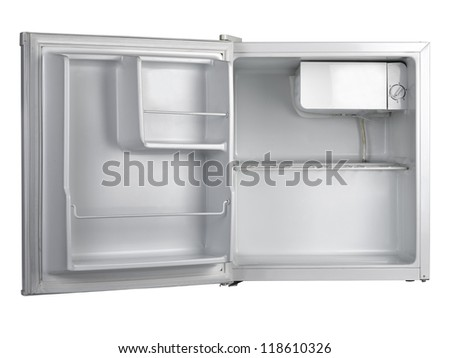 refrigerator with open door isolated (clipping path ) - stock photo