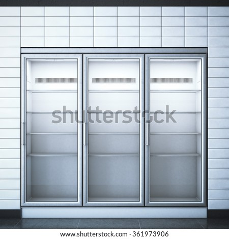 Refrigerator with three doors in the store. 3d rendering