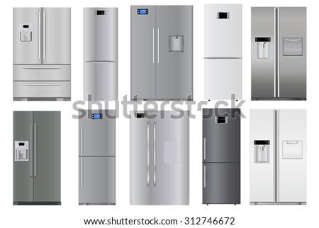 Refrigerators set. Raster version isolated on white background - stock photo