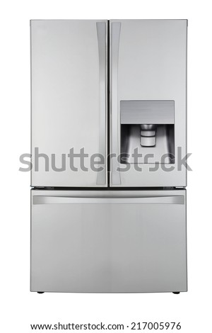 Refrigirater isolated on white - stock photo