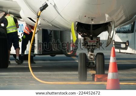 Refueling aircraft - stock photo