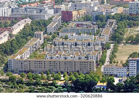 Refurbished and new residential buildings in Munich, Germany - stock photo