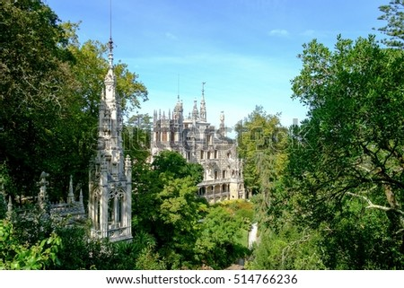 Regaleira Palace at the historic Quinta da Regaleira estate at Sintra, Portugal.