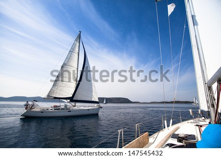 Regatta on the sea. Sailboat. Yachting. Sailing. Travel Concept. Vacation. - stock photo
