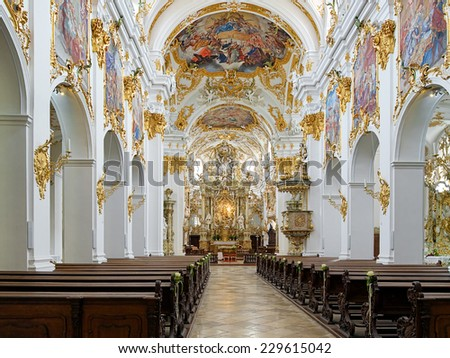REGENSBURG, GERMANY � SEPTEMBER 27, 2013: Interior of Old Chapel (Alte Kapelle). The interior was made in 1747, and now the Old Chapel is the most important building of the Bavarian Rococo style. - stock photo